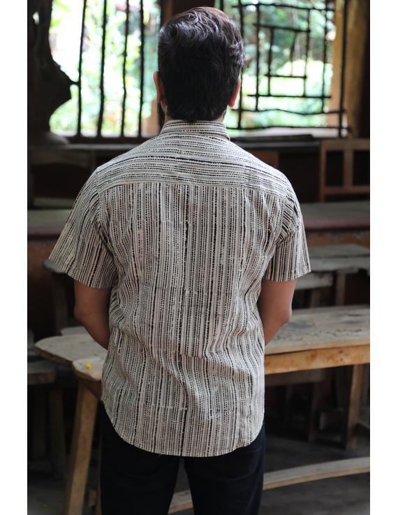 Beige Casual Shirt With Kalamkari Stripes : GT420F-XXL-Beige-1