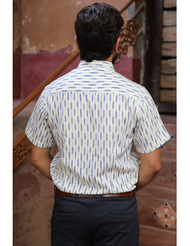 White Casual Shirt With Blue Stripes In Ikat Cotton : GT420H-S-White & blue-1-sm