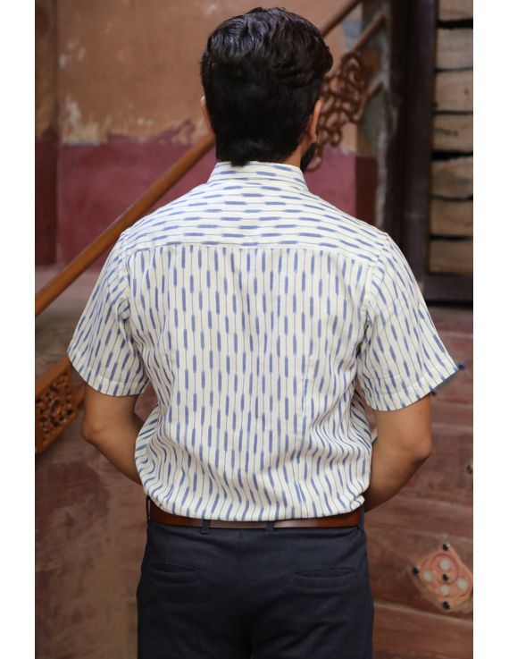 White Casual Shirt With Blue Stripes In Ikat Cotton : GT420H-S-White & blue-1