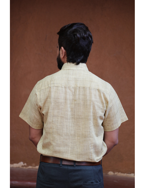 Casual Handloom Cotton Shirt : GT430B-XL-Mustard Yellow-1