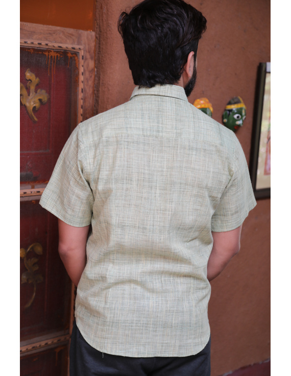 Casual Handloom Cotton Shirt : GT430C-M-Mint green-1