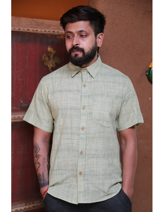 Casual Handloom Cotton Shirt : GT430C-L-Mint green-2