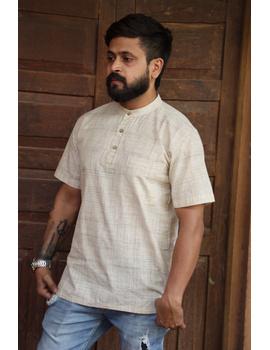 Beige Handloom Cotton Short Kurta With Half Sleeves : GT401HFB-S-Beige-1-sm