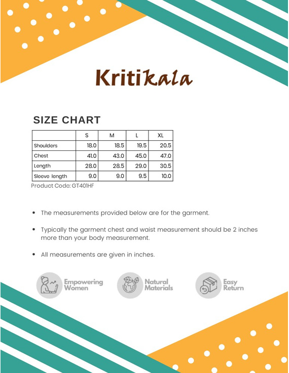 Beige Handloom Cotton Short Kurta With Half Sleeves : GT401HFB-XL-Beige-2