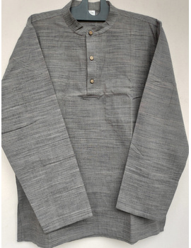 Steel Grey Handloom Cotton Short Kurta With Full Sleeves : GT401FFA-GT401FFA-S-sm