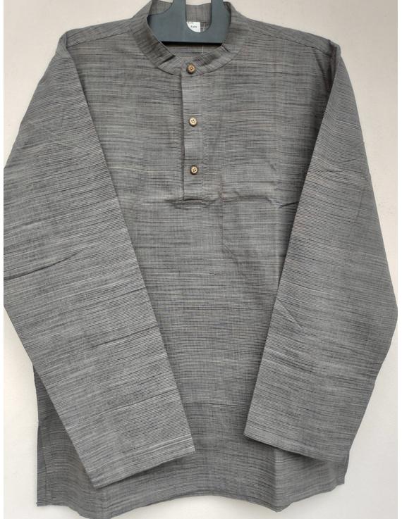 Steel Grey Handloom Cotton Short Kurta With Full Sleeves : GT401FFA-GT401FFA-S