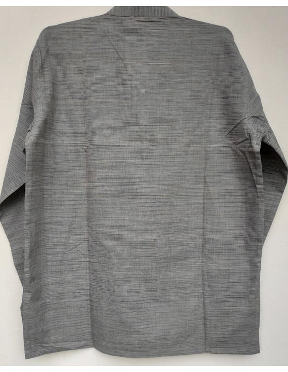 Steel Grey Handloom Cotton Short Kurta With Full Sleeves : GT401FFA-S-Grey-1