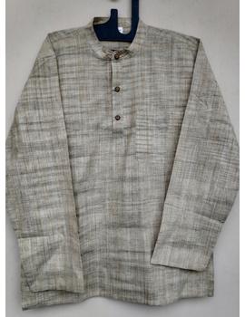 Beige Handloom Cotton Short Kurta With Full Sleeves : GT401FFB-GT401FFB-L-sm