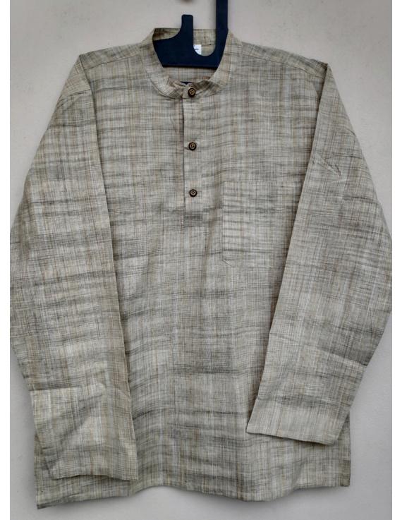 Beige Handloom Cotton Short Kurta With Full Sleeves : GT401FFB-GT401FFB-L