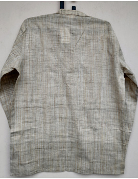 Beige Handloom Cotton Short Kurta With Full Sleeves : GT401FFB-L-Beige-1-sm