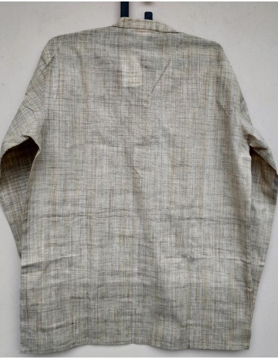 Beige Handloom Cotton Short Kurta With Full Sleeves : GT401FFB-L-Beige-1