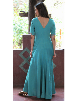 Sea green handloom cotton high low long dress with halter neck and hand embroidery: LD590B-S-3-sm