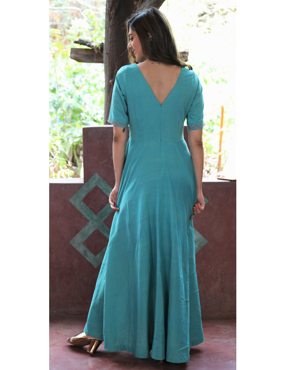 Sea green handloom cotton high low long dress with halter neck and hand embroidery: LD590B-S-3