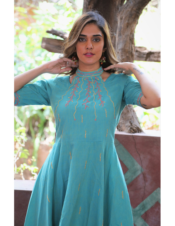 Sea green handloom cotton high low long dress with halter neck and hand embroidery: LD590B-S-2