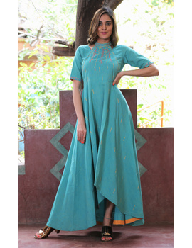 Sea green handloom cotton high low long dress with halter neck and hand embroidery: LD590B-S-1-sm