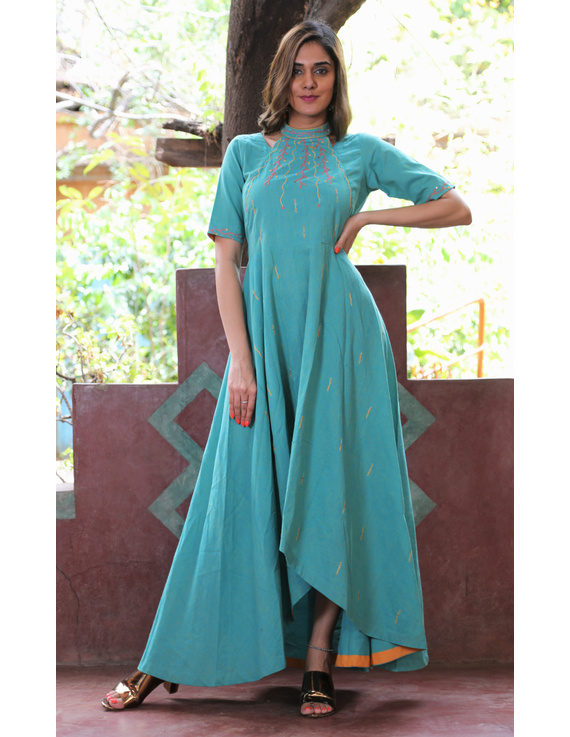 Sea green handloom cotton high low long dress with halter neck and hand embroidery: LD590B-S-1