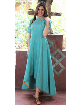Sea green handloom cotton high low long dress with halter neck and hand embroidery: LD590B-LD590B-sm