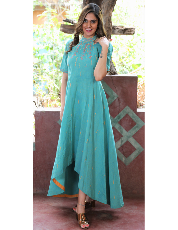 Sea green handloom cotton high low long dress with halter neck and hand embroidery: LD590B-LD590B