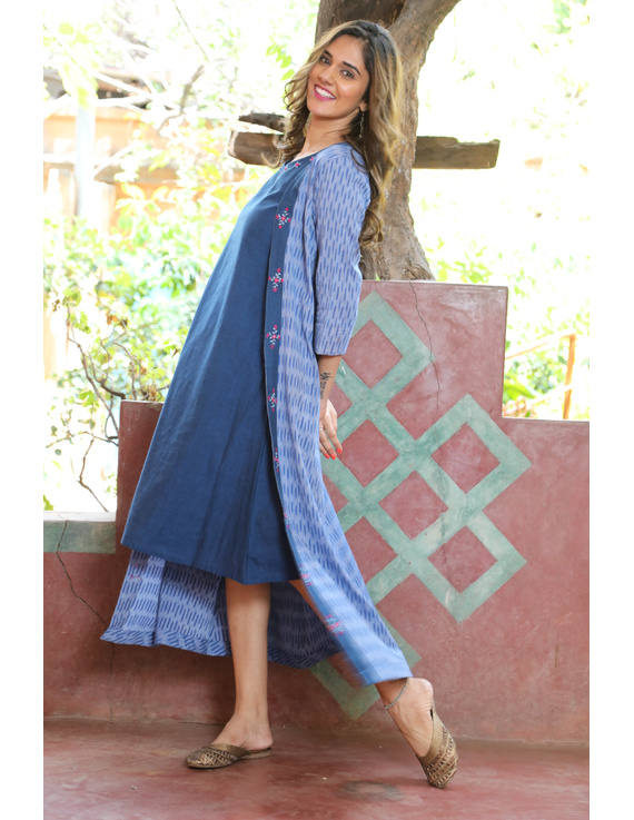 Blue mangalagiri cotton straight dress with an ikat long jacket: LD600B-XL-1