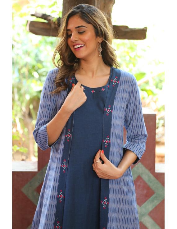Blue mangalagiri cotton straight dress with an ikat long jacket: LD600B-XL-2