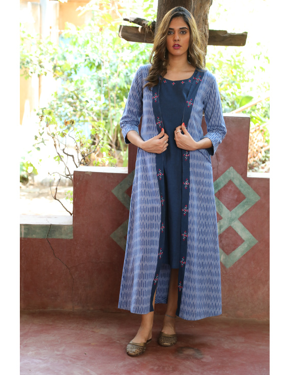Blue mangalagiri cotton straight dress with an ikat long jacket: LD600B-LD600B-XL