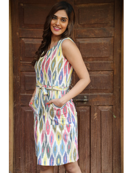 Knee length straight dress in multicolour ikat cotton: LD470C-S-2-sm