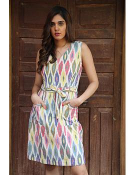Knee length straight dress in multicolour ikat cotton: LD470C-S-1-sm