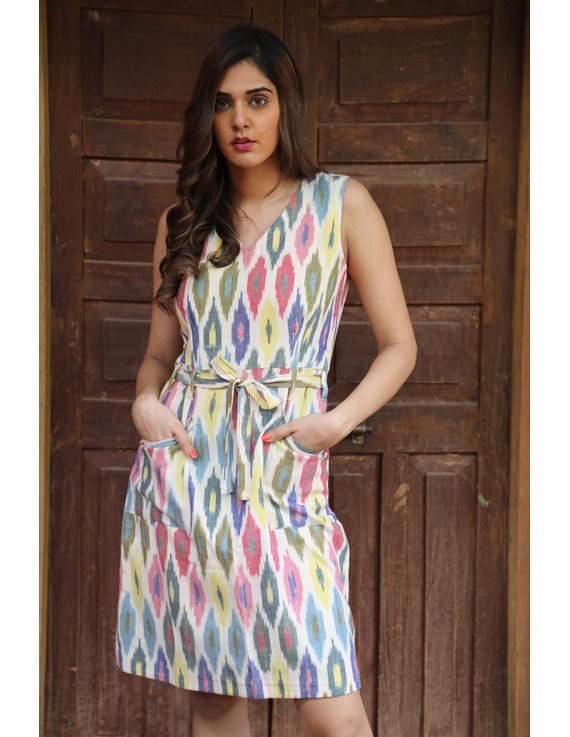 Knee length straight dress in multicolour ikat cotton: LD470C-S-1