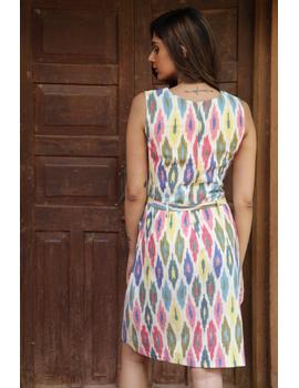 Knee length straight dress in multicolour ikat cotton: LD470C-S-3-sm