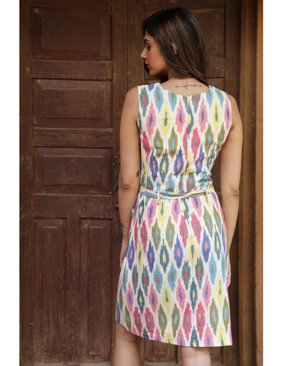 Knee length straight dress in multicolour ikat cotton: LD470C-S-3