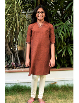 Brown overlapped V collar kurta for girls: LK365B-LK365B-8-9-sm