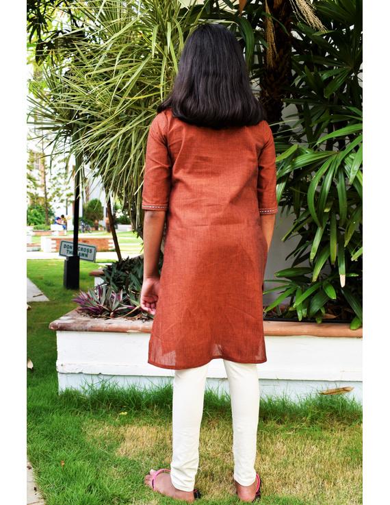 Brown overlapped V collar kurta for girls: LK365B-(8-9)-1