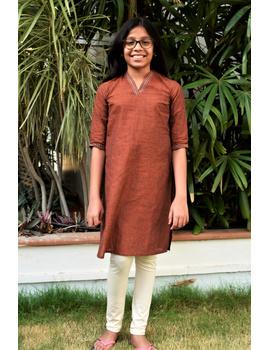 Brown overlapped V collar kurta for girls: LK365B-LK365B-10-11-sm