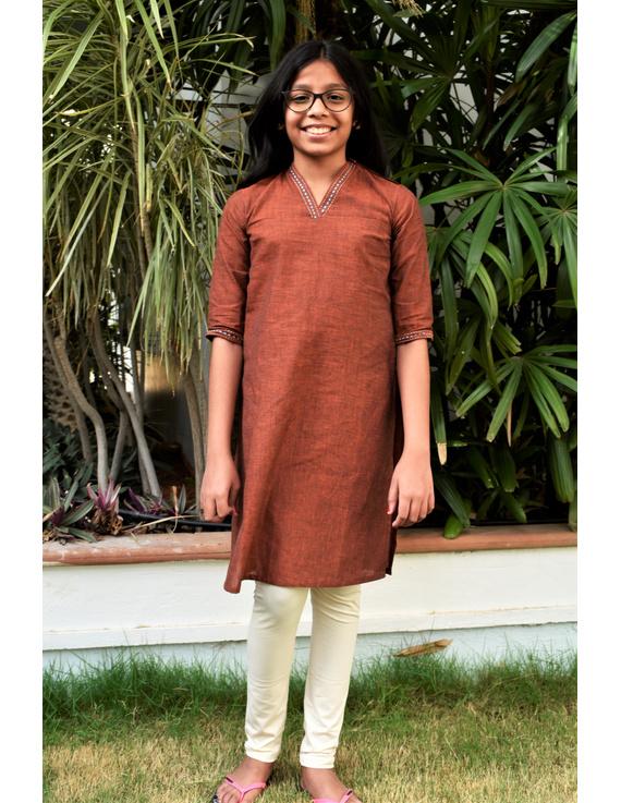 Brown overlapped V collar kurta for girls: LK365B-LK365B-10-11