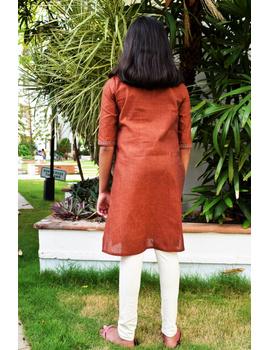 Brown overlapped V collar kurta for girls: LK365B-(10-11)-1-sm