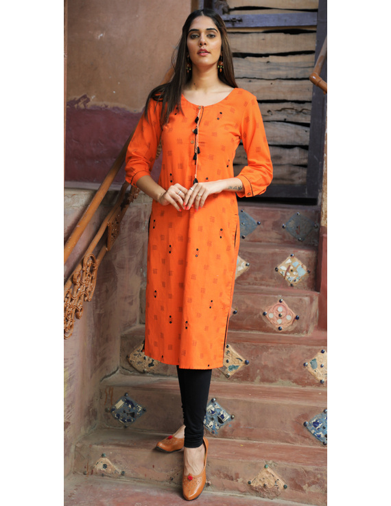Orange Ikat Cotton Kurta With Hand Embroidery : Lk340A-LK340A-Xl