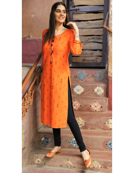Orange Ikat Cotton Kurta With Hand Embroidery : Lk340A-XXl-1