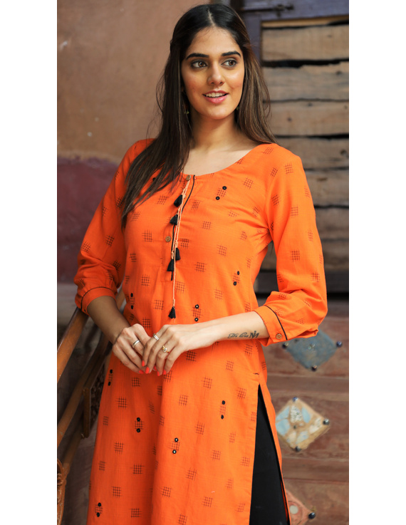 Orange Ikat Cotton Kurta With Hand Embroidery : Lk340A-XXl-2