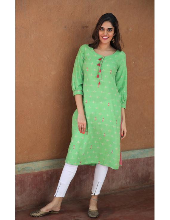 Lime Green Ikat Cotton Kurta With Tassels: Lk340B-LK340B-M