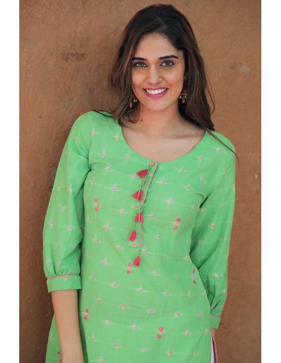 Lime Green Ikat Cotton Kurta With Tassels: Lk340B-L-2