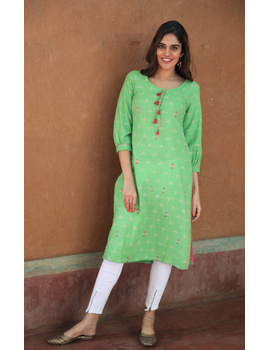 Lime Green Ikat Cotton Kurta With Tassels: Lk340B-LK340B-Xl-sm
