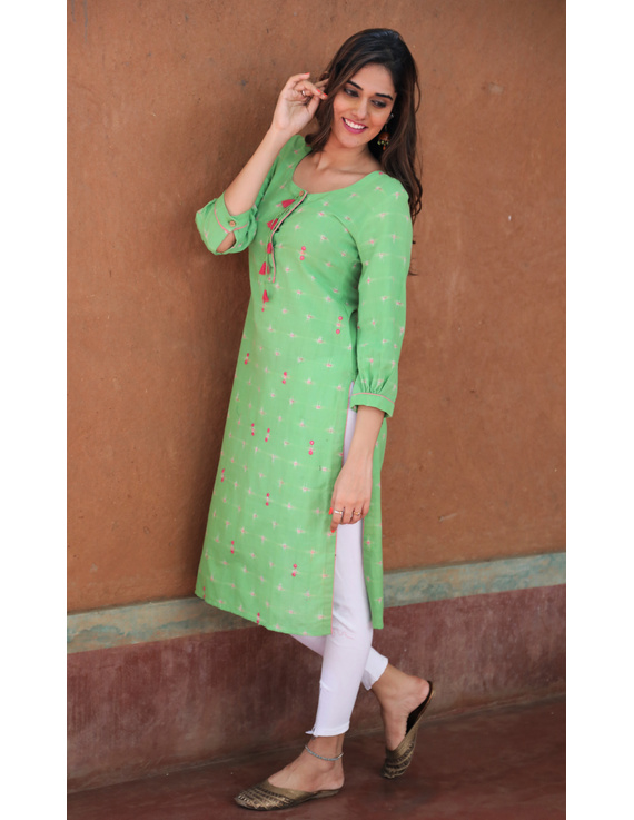 Lime Green Ikat Cotton Kurta With Tassels: Lk340B-XXl-1
