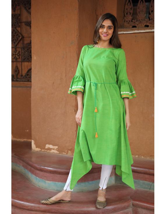Green Handloom Kurta With Hand Emboidery: Lk380B-LK380B-M