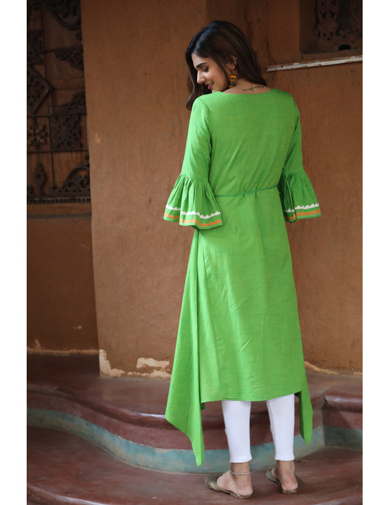 Green Handloom Kurta With Hand Emboidery: Lk380B-M-1