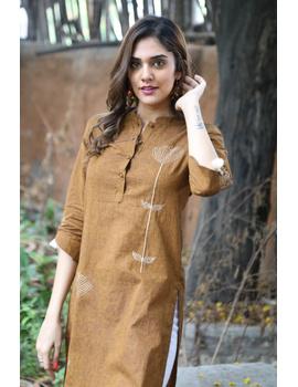 Mustard Mandarin Collar Kurta With Hand Embroidery: Lk400B-Xl-1-sm