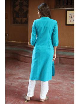 Blue Straight Kurta With Pintucks: Lk410A-XXl-2-sm