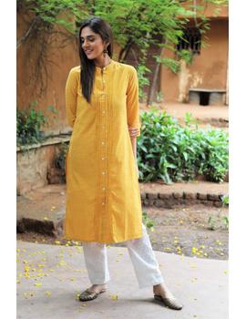 Yellow Straight Kurta With Pintucks: Lk410C-LK410C-M-sm