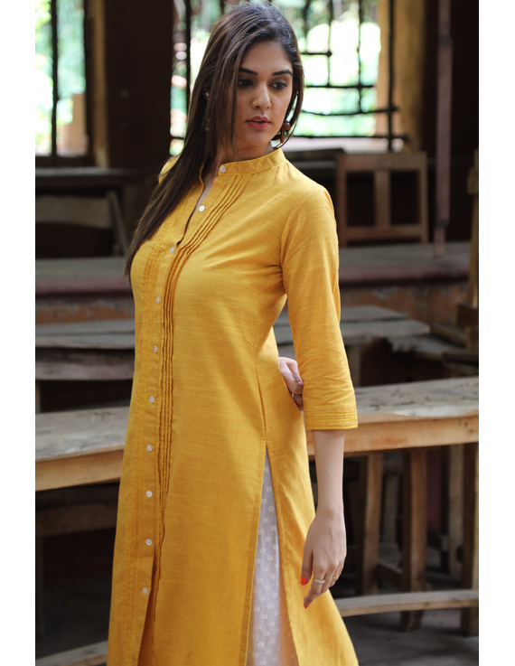 Yellow Straight Kurta With Pintucks: Lk410C-XL-1