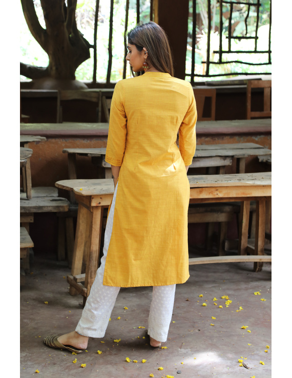 Yellow Straight Kurta With Pintucks: Lk410C-XL-2