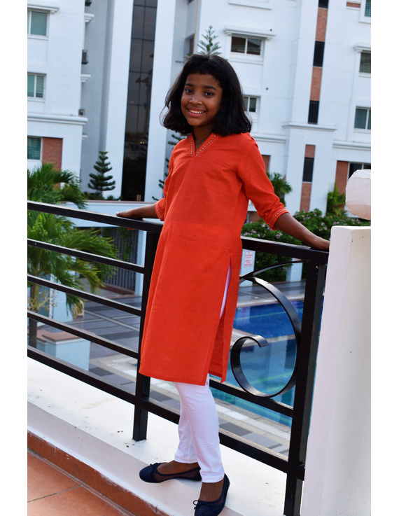 Orange Overlapped V Collar Kurta For Girls: Lk365A-LK365A-4-5